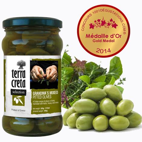 Produkty – Olivy – Babičkiné olivy s kostkou a medajlou – 2014